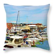 Portland Maine Harbor Throw Pillow