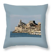 Portovenere's Church And Fortress Throw Pillow