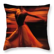 Portrait Of A Ballet Dancer Bathed Throw Pillow