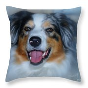 Portrait Of A Dog Lady Throw Pillow