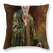 Portrait Of A Girl With A Green Shawl Throw Pillow
