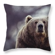 Portrait Of A Kodiak Brown Bear Throw Pillow