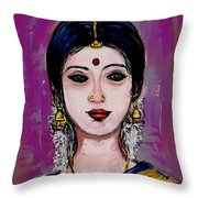 Portrait Of An Indian Woman Throw Pillow