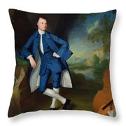 Portrait Of Man Throw Pillow by George Romney