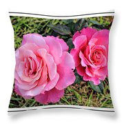 Portrait Of Sister Roses Throw Pillow