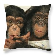 Portrait Of Two Young Laboratory Chimps Throw Pillow