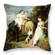 Portraits Of The Children Of The Rev. Joseph Arkwright Of Mark Hall Essex Throw Pillow