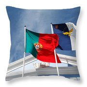 Portugal And Azores Flags Throw Pillow