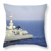 Portuguese Navy Frigate Nrp Bartolomeu Throw Pillow