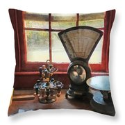 Postage Scale And Rubber Stamps Throw Pillow