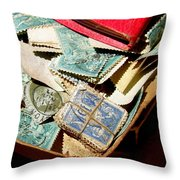 Postage Stamps Throw Pillow