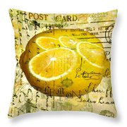 Postcard Lemons Throw Pillow