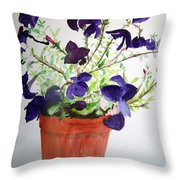 Pot Of Flowers One Throw Pillow