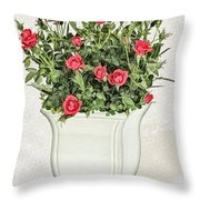 Pot Of Red Roses On Lace Background Throw Pillow