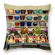 Pots And Birdhouses Throw Pillow