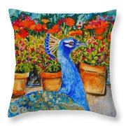 Potted Peacock Throw Pillow