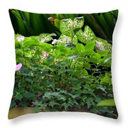 Potted Shades Of Green Throw Pillow