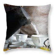 Pouring Hot Water Throw Pillow