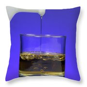 Pouring Oil Into Vinegar Throw Pillow by Photo Researchers, Inc.