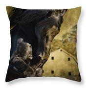 Power House Horse Throw Pillow
