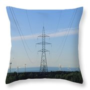 Power Lines Lead From Windmills Throw Pillow