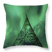 Powerlines And Aurora Borealis Throw Pillow