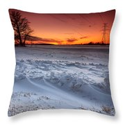 Powerlines In Winter Throw Pillow
