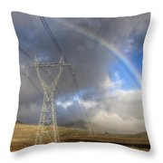 Powerlines, Rainbow Forms As Evening Throw Pillow