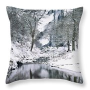 Powerscourt Waterfall In Winter, County Throw Pillow