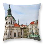 Prague - St Nicholas Church Old Town Square Throw Pillow