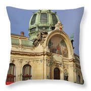 Prague Obecni Dum - Municipal House Throw Pillow by Christine Till