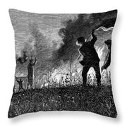 Prairie Fire, 1874 Throw Pillow