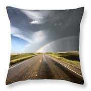 Prairie Hail Storm And Rainbow Throw Pillow