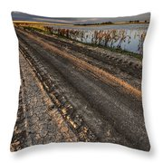 Prairie Road Storm Clouds Mud Tracks Throw Pillow