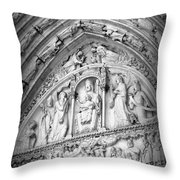 Prayers At Notre Dame - Black And White Throw Pillow
