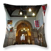 Praying At The St Mary Church Inside Dover Castle In England Throw Pillow