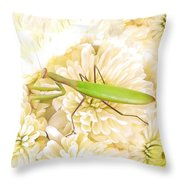 Praying Mantis On A Flower Boquet Throw Pillow