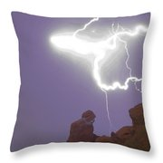 Praying Monk Lightning Halo Monsoon Thunderstorm Photography Throw Pillow
