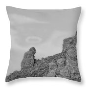 Praying Monk With Halo Camelback Mountain Bw Throw Pillow