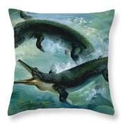 Pre-historic Crocodiles Eating A Fish Throw Pillow
