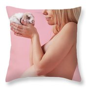 Pregant Young Woman Holding A Bunny In Her Hands Throw Pillow