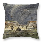 Kansas Cyclone, 1887 Throw Pillow