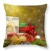 Presents Decorated With Christmas Decoration Throw Pillow