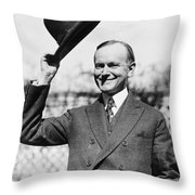 President Calvin Coolidge Tips Is Hat Throw Pillow