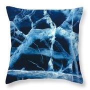 Pressure Cracks In Lake Ice Throw Pillow