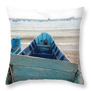 Pretty Blue Boat Throw Pillow