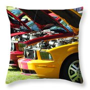 Pretty Mustangs In A Row Throw Pillow