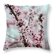 Pretty Pink Flowering Tree Throw Pillow