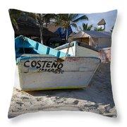Progreso Mexico Fishing Boat Throw Pillow