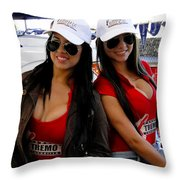 Promotional Assistants At Parque Xtremo Throw Pillow